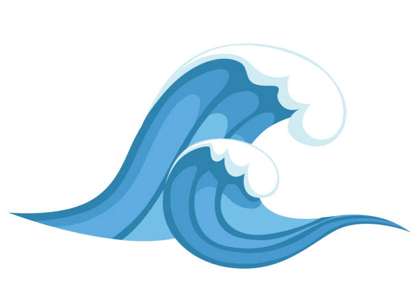 tsunami wave. big blue sea wave in cartoon style. cataclysm color icon. vector illustration isolated on white background. web site page and mobile app design - tidal wave stock illustrations, clip art, cartoons, & icons