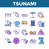 Tsunami Wave Collection Elements Icons Set Vector Thin Line. Broken House And Flooded Building, Boat And Human Silhouette Near Tsunami Concept Linear Pictograms. Color Illustrations