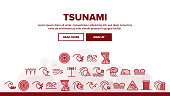 Tsunami Wave Landing Web Page Header Banner Template Vector. Broken House And Flooded Building, Boat And Human Silhouette Near Tsunami Illustration
