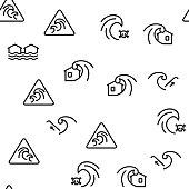 Tsunami Wave Vector Seamless Pattern Thin Line Illustration