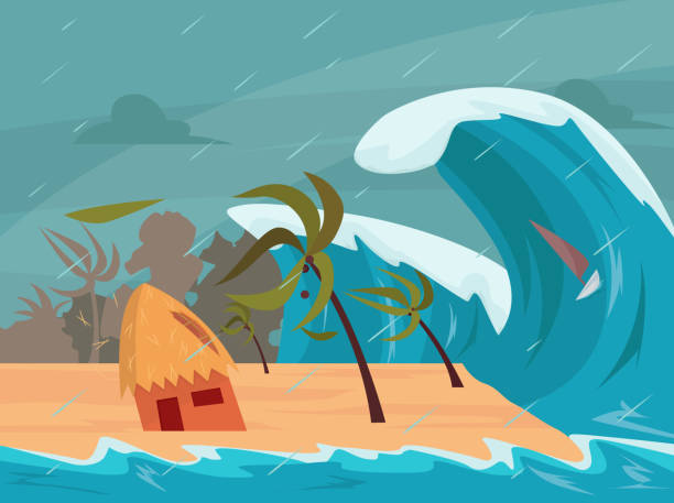 tsunami waves hits the beach - tidal wave stock illustrations, clip art, cartoons, & icons