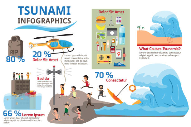 tsunami with survival and earthquake infographics elements. detail of danger earthquake into tsunami with detail to protect yourself from big wave. vector illustration. - tidal wave stock illustrations, clip art, cartoons, & icons