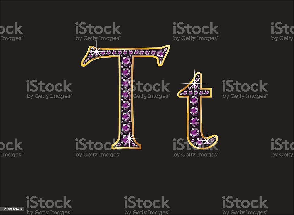 Tt Amethyst Jeweled Font with Gold Channels vector art illustration