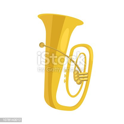 Tuba flat icon. Brass band, military orchestra, concert. Musical instruments concept. Vector illustration can be used for topics like music, leisure, culture