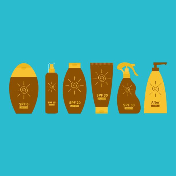 ilustrações de stock, clip art, desenhos animados e ícones de tube of suntan oil cream. after sun lotion. bottle set. solar defence icon. spf 6 15 20 30 50 sun protection factor. uva uvb sunscreen. blue background. flat - protetor solar