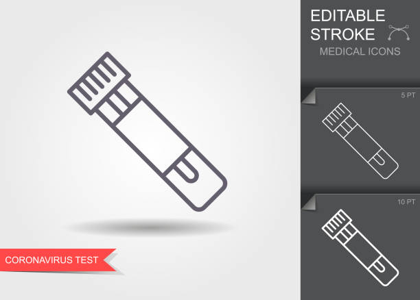 bildbanksillustrationer, clip art samt tecknat material och ikoner med rör med test för coronavirus. linjära medicinska symboler med redigerbar linje med skugga - test tube