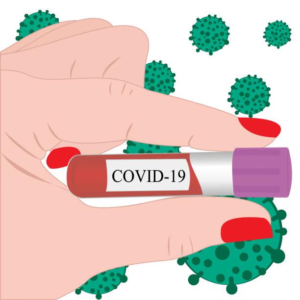 ilustraciones, imágenes clip art, dibujos animados e iconos de stock de tubo con sangre en una mano para laboratorio, análisis de la infección por el virus del coronavirus - thyroxine