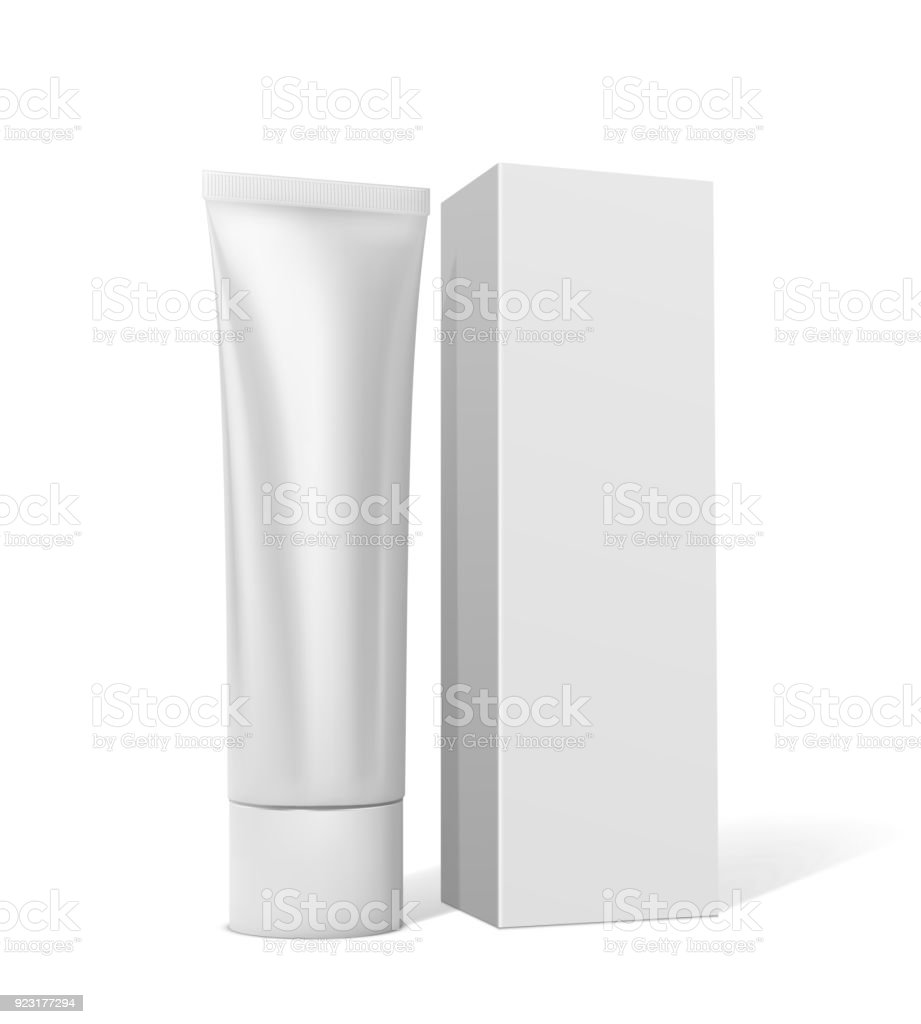 Tube with cream or toothpaste with square white packaging on a white background vector art illustration