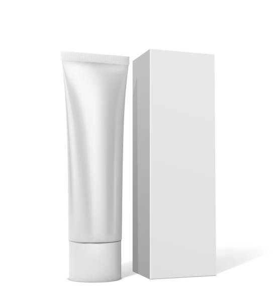 Tube with cream or toothpaste with square white packaging on a white background Tube with cream or toothpaste with square white packaging on a white background tube stock illustrations
