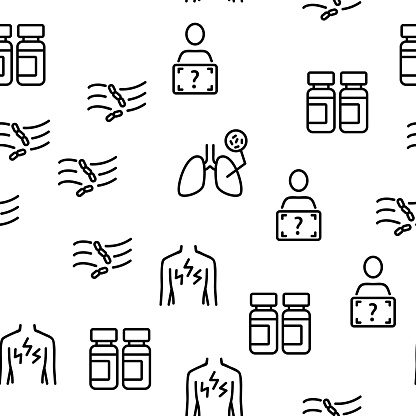 Tuberculosis Disease Vector Seamless Pattern Thin Line Illustration