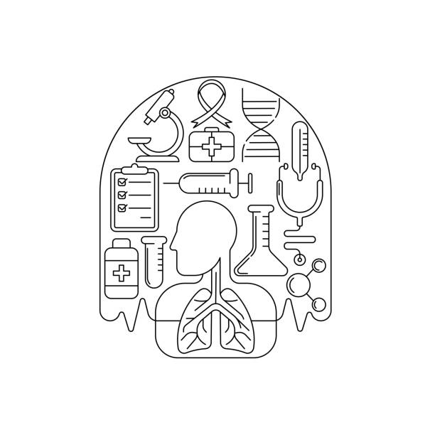 Tuberculosis - Medical Lungs Vector illustration Tuberculosis - Medical Lungs Vector illustration for website, logo, app icon, banner. Tuberculosis Vector line art flat graphic design. isolated on white background. backgrounds clipart stock illustrations