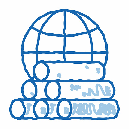 Tubes Planet Earth Problem doodle icon hand drawn illustration