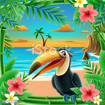 tucan with flowers card