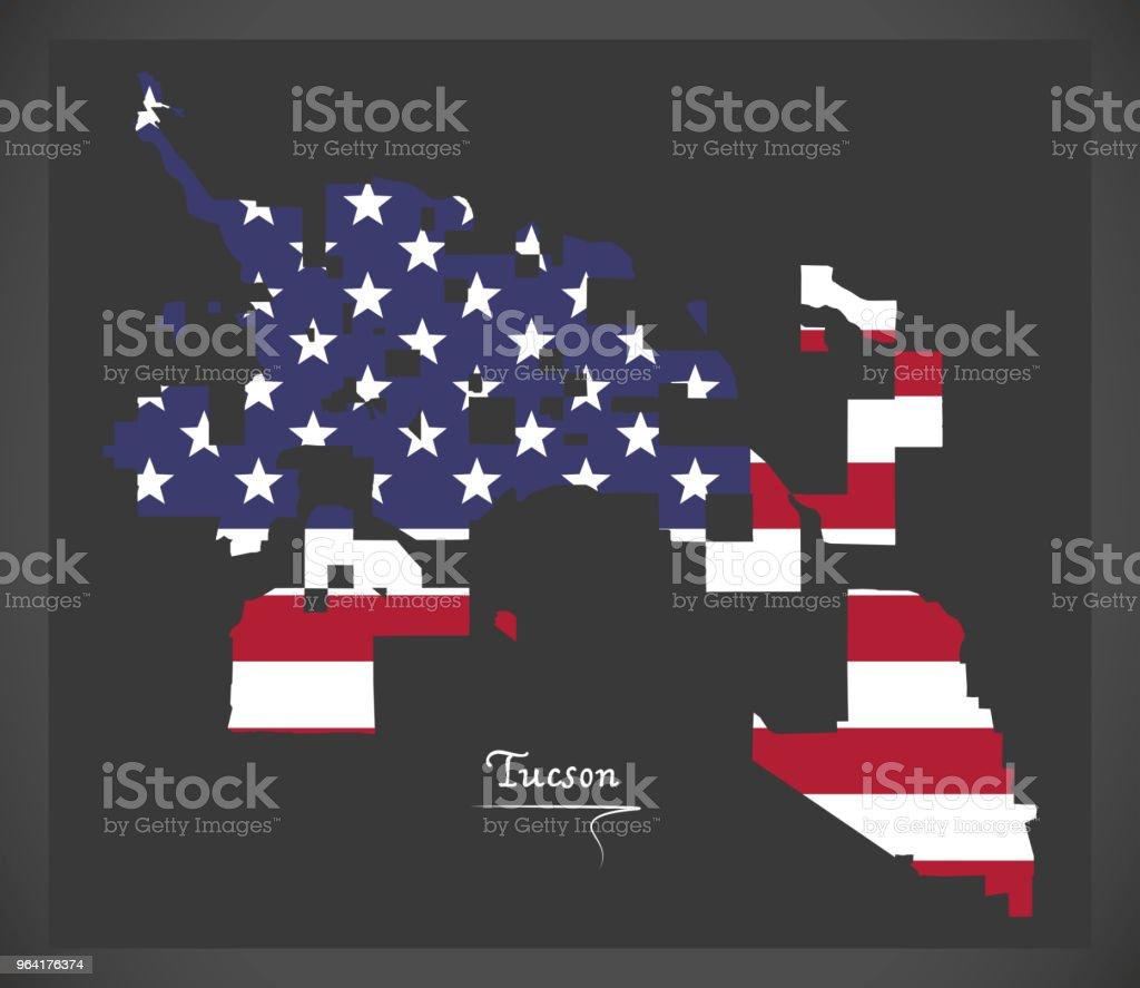 Tucson Arizona Karte.Tucson Arizona Karte Mit Amerikanischen Nationalflagge