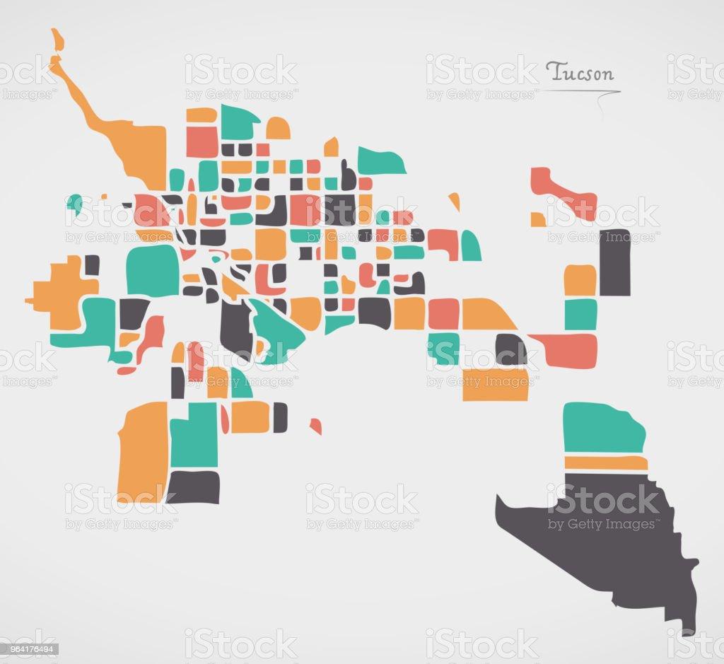 Tucson Arizona Karte.Tucson Arizona Karte Mit Nachbarschaften Und Moderne Runde