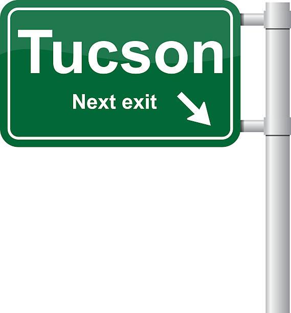 stockillustraties, clipart, cartoons en iconen met tucson next exit green signal vector - arizona highway signs