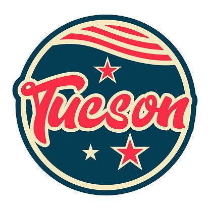 Tucson round button icon vector illustration