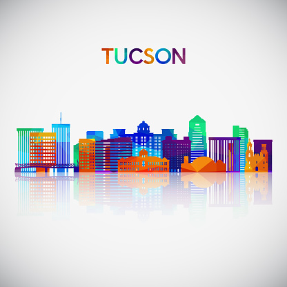 Tucson skyline silhouette in colorful geometric style. Symbol for your design. Vector illustration.