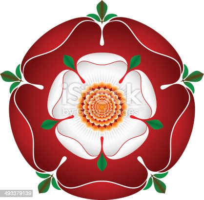 istock Tudor Dynasty Rose – vector shaded illustration – English Symbol 493379139