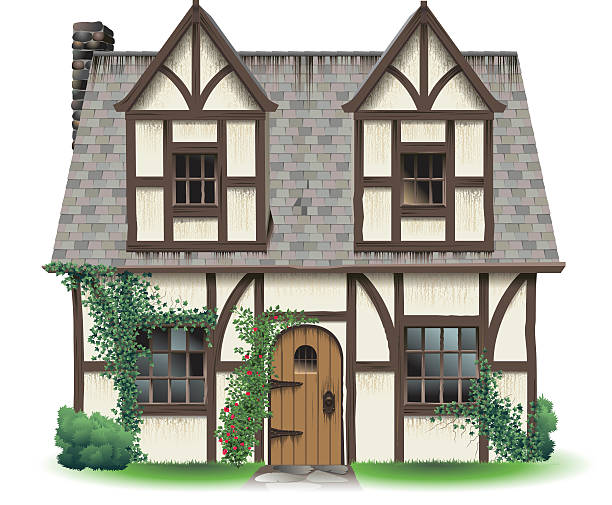 Tudor Home with Ivy An old English cottage, Tudor style, with ivy and roses around the door.  cottage stock illustrations