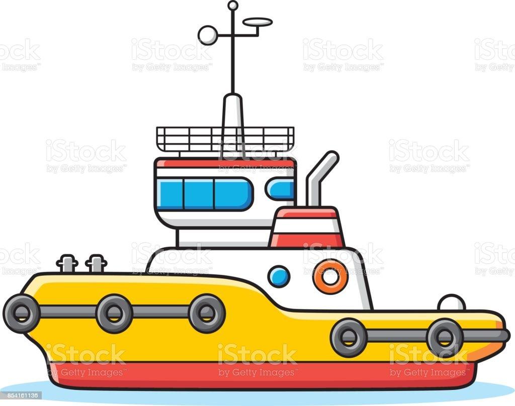 Tug boat vector. vector art illustration