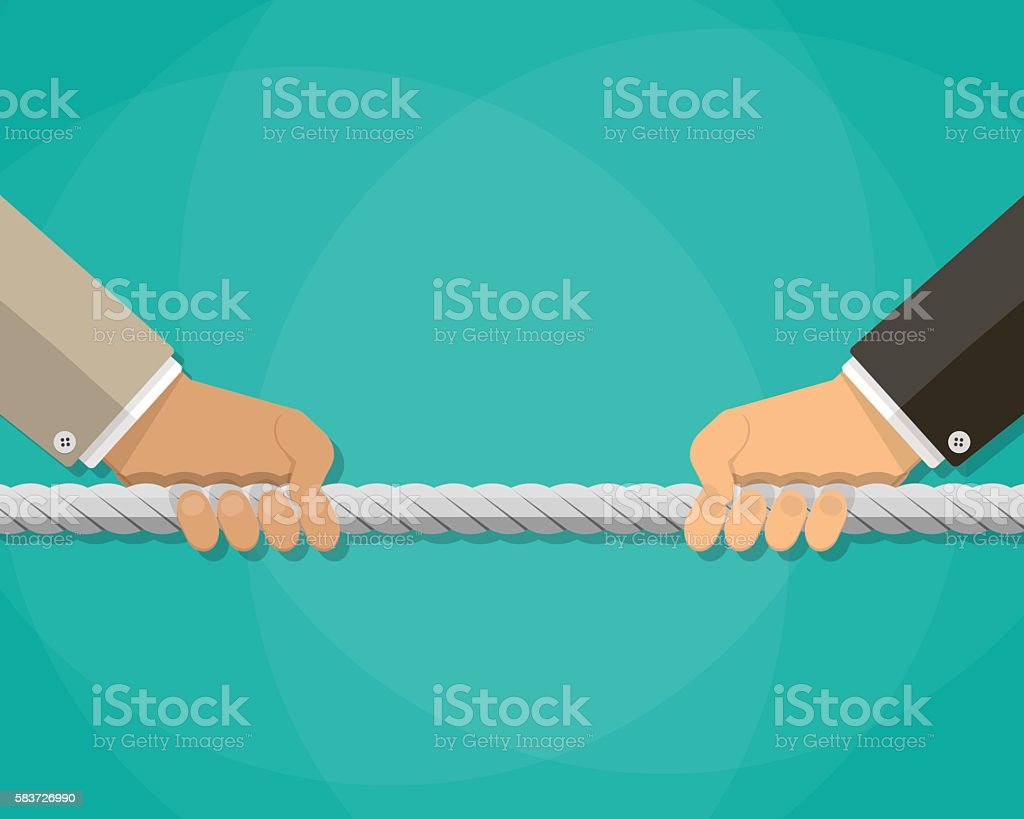 tug of war, business competition concept vector art illustration