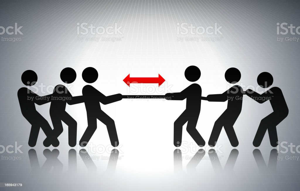 Tug of War Business Concept Stick Figures vector art illustration