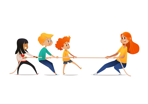 Tug of war competition between children and adult. Smiling multiracial kids and redhead woman pulling opposite ends of rope. Cute cartoon characters isolated on white background. Vector illustration.