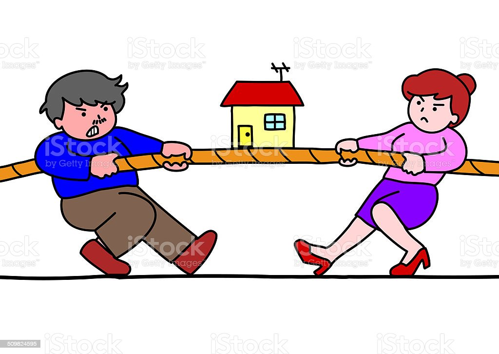 tug of war for estate vector art illustration