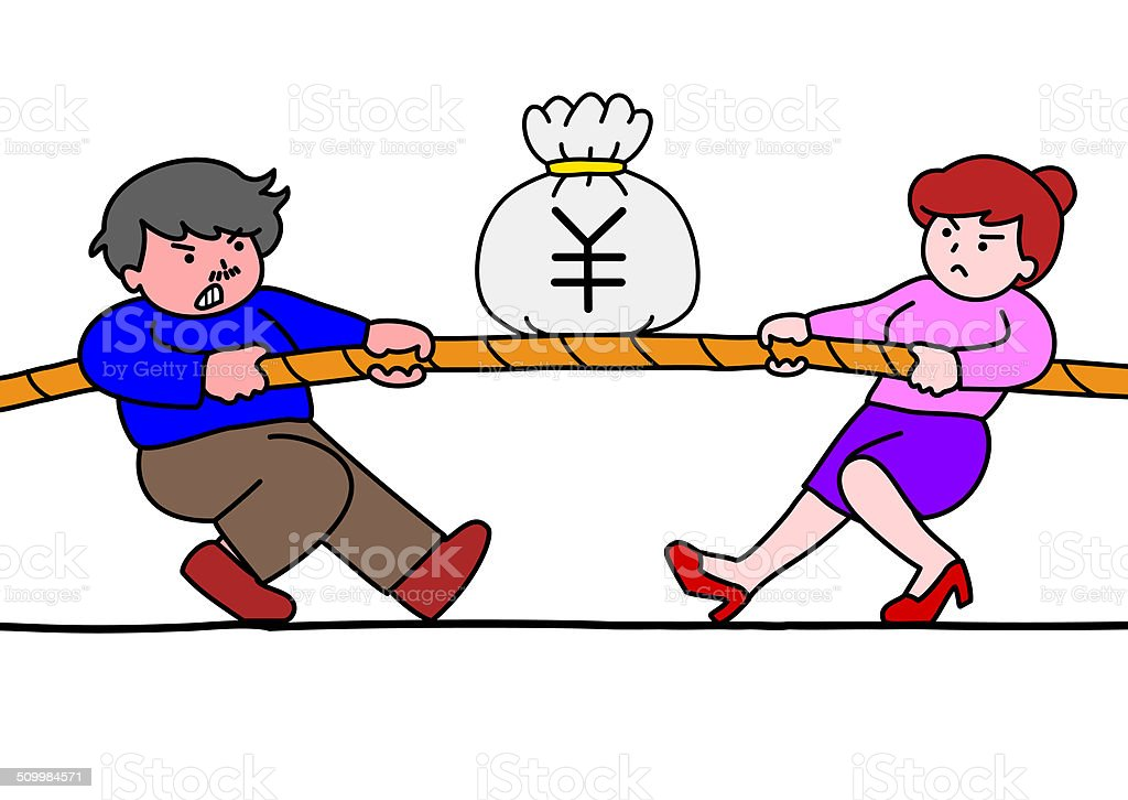 tug of war for money vector art illustration