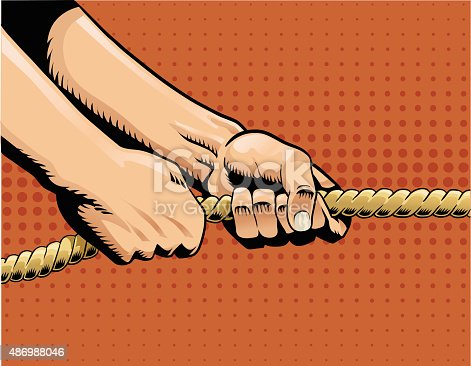 istock Tug of War - Hands Pulling on Rope 486988046