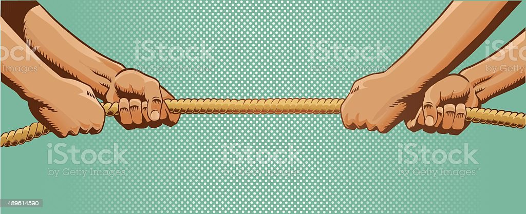Tug of War - Pulling Rope vector art illustration