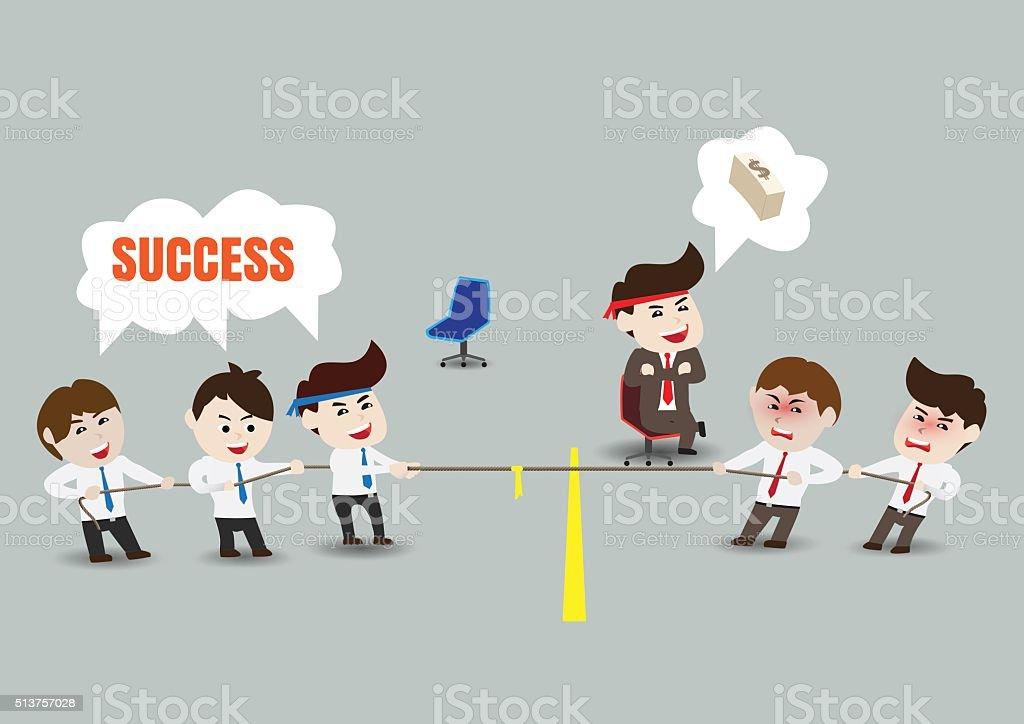 rebocador de guerra trabalho de equipa do negócio bem sucedido