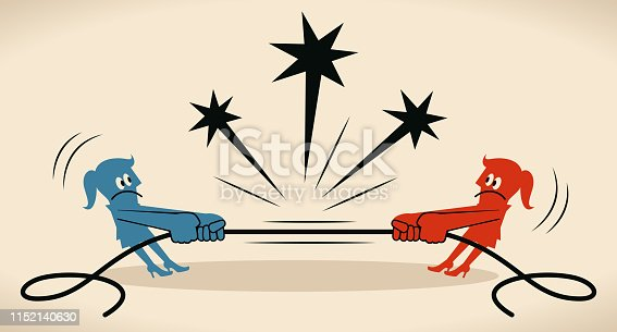 Blue Little Guy Characters Full Length Vector art illustration.Copy Space. Tug Of War two businesswomen pulling rope in opposite directions (Your Worst Enemy Is Yourself).