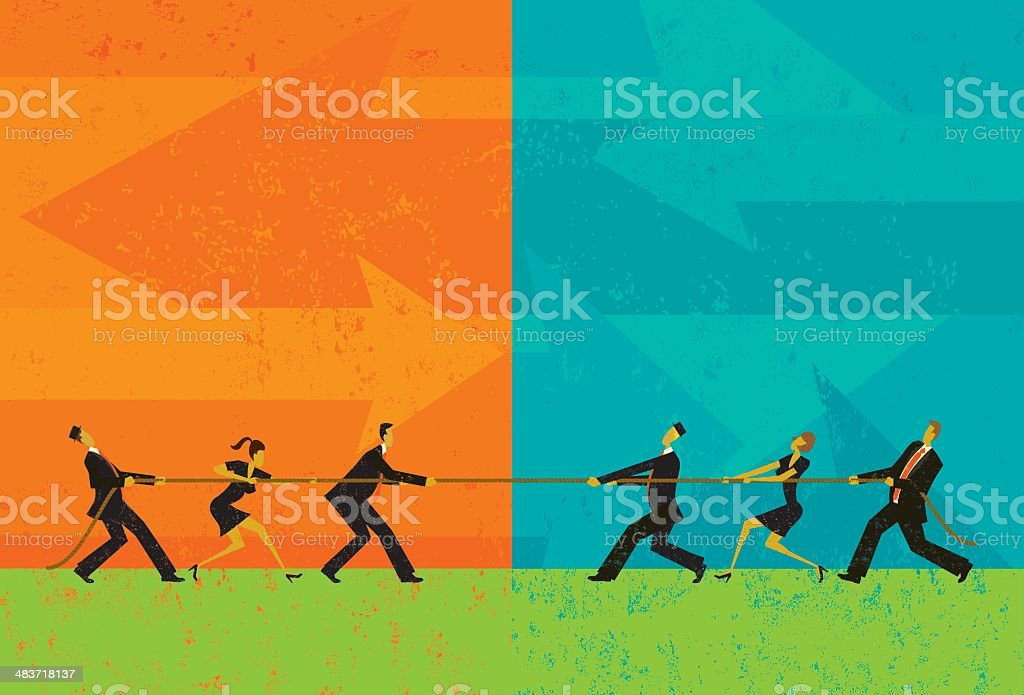 Tug of War vector art illustration