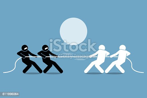 Tug of war. Vector artwork depicts power struggle, competition, and opposition.