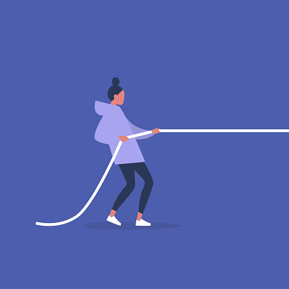 Tug of war, young female character pulling a rope, conceptual illustration