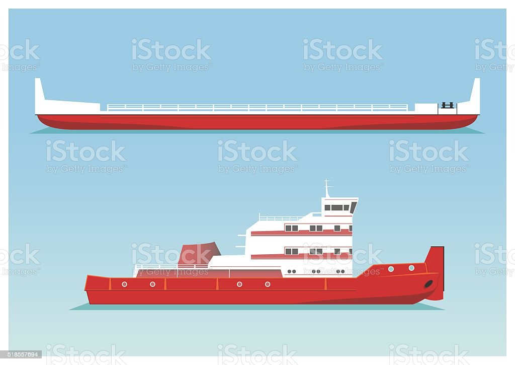 Tugboat and barge vector art illustration