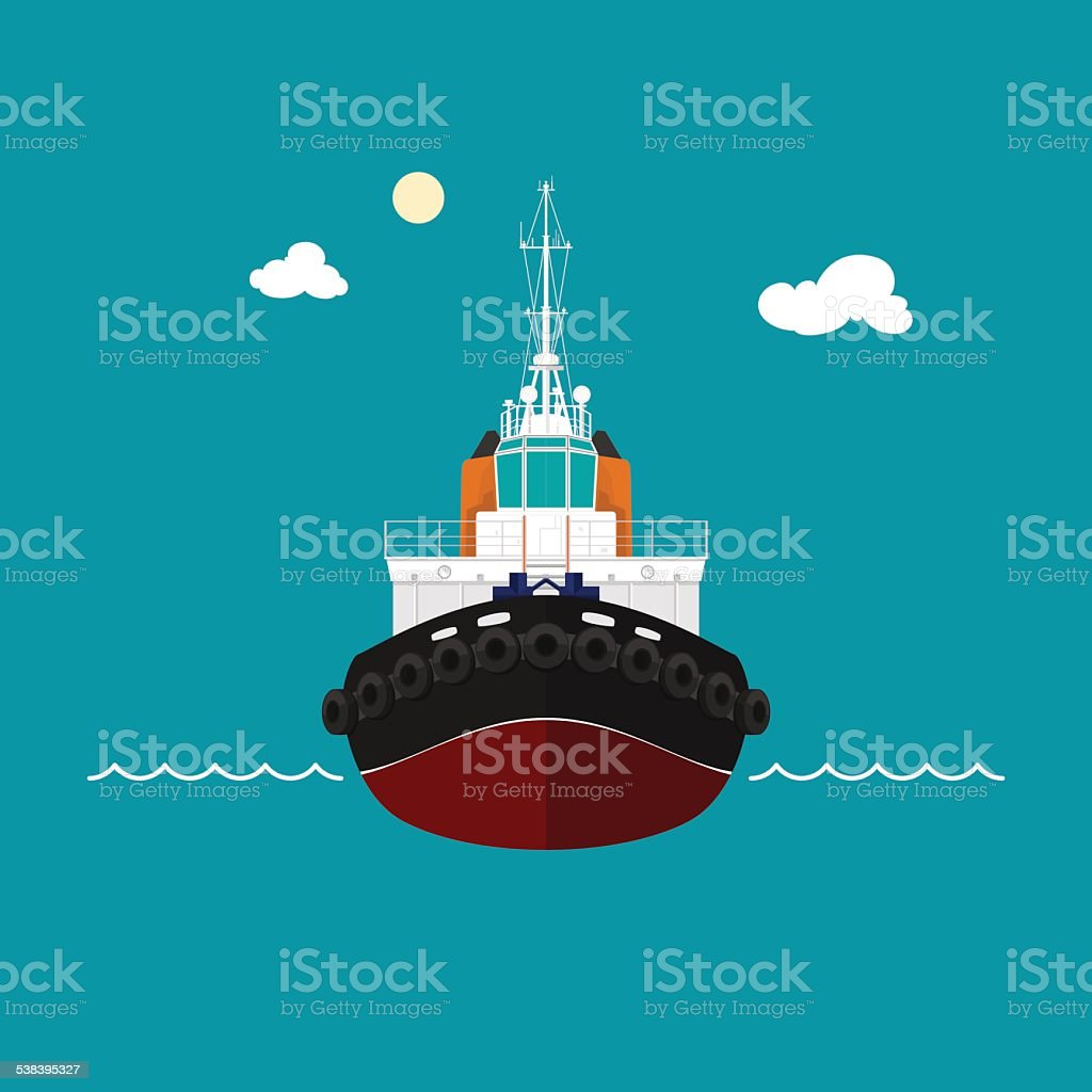 Tugboat for towage and mooring of other courts vector art illustration