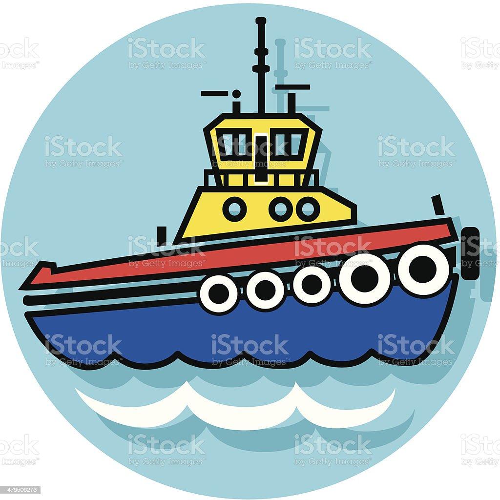 tugboat icon vector art illustration