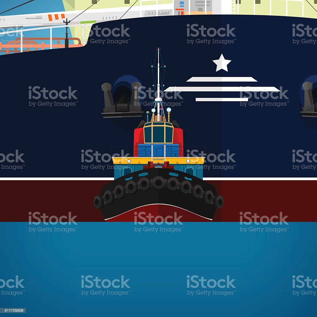 Tugboat Towing a Large Ship vector art illustration