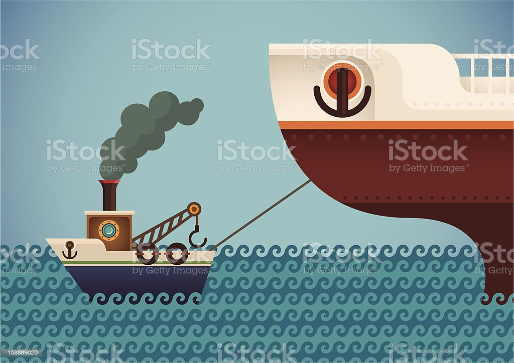 royalty free tugboat clip art vector images illustrations istock rh istockphoto com Tugboat Cartoon tugboat clipart image