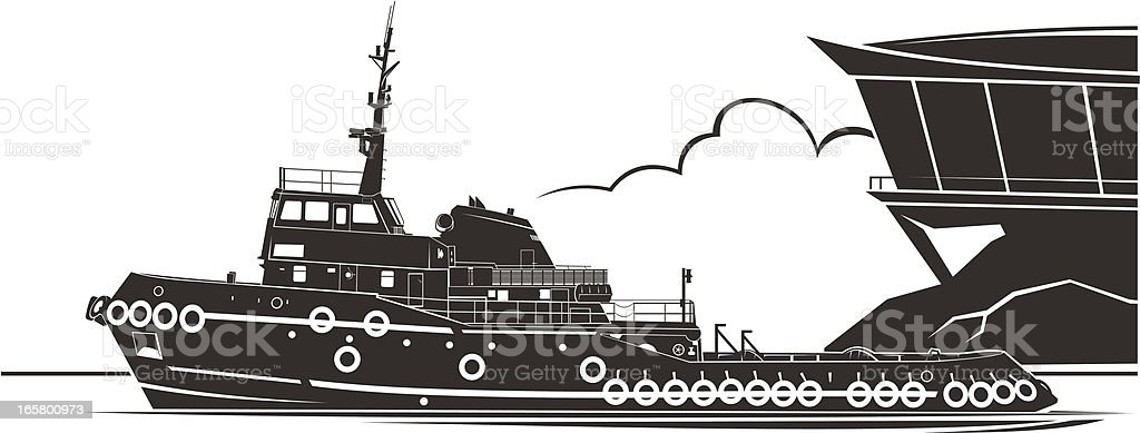 Tugboat vector art illustration