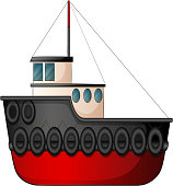 Illustration of a close up tugboat