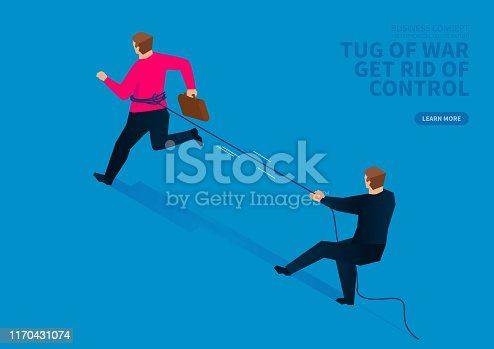 Tug-of-war, businessman trying to get rid of control