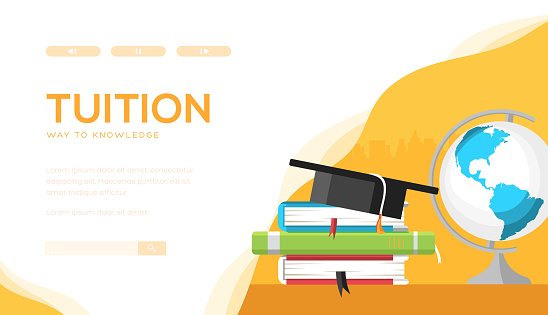 Tuition vector landing page template