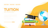 Tuition vector landing page template. Individual lessons web banner design. Online education, e-learning website homepage. Bachelor, Master degree illustration. Teacher, tutor, coach services