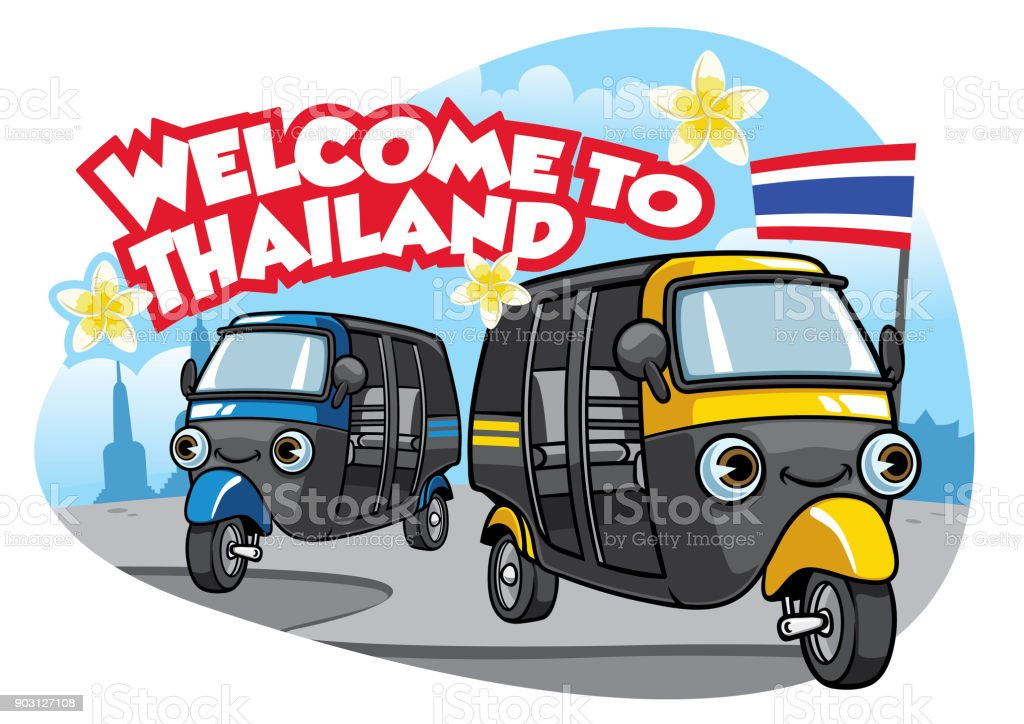 tuk tuk car of thailand vector art illustration
