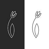 Tulip logo feminine leaf flower emblem for spa salon, hairdresser or beauty salon, simple linear art design in one solid line