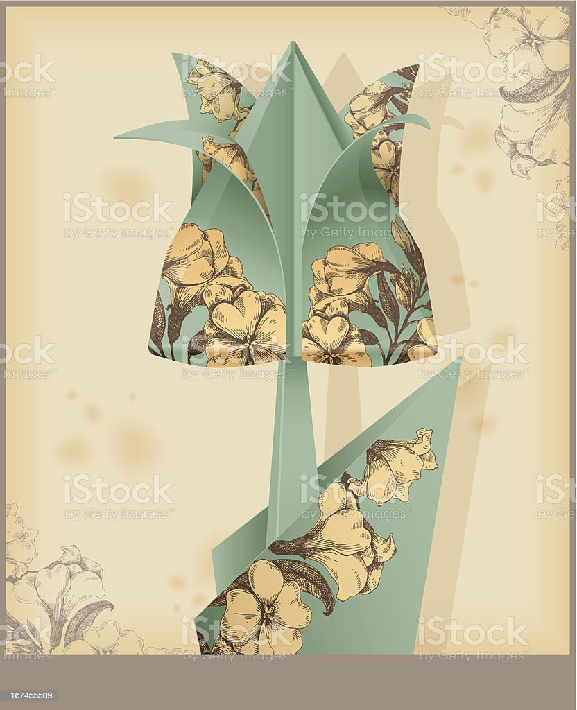Tulip made from vintage decorative paper. Eps 10 royalty-free stock vector art